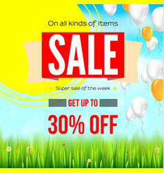 summer selling ad banner with an inflatable vector image vector image