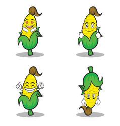 Sweet corn character cartoon set collection vector