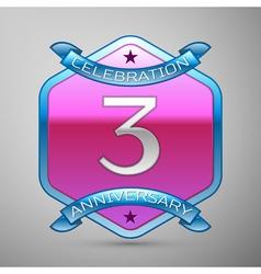 Three years anniversary celebration silver logo vector