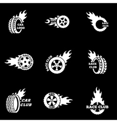 white Racing icon set vector image vector image