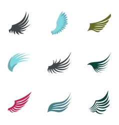 Wings of bird icons set flat style vector