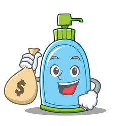 With money bag liquid soap character cartoon vector
