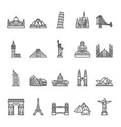 World landmarks outline icon set vector