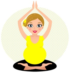 Yellow yoga girl isolated on circle background vector image vector image