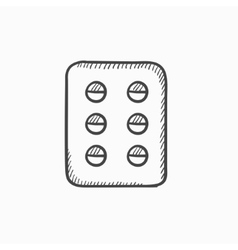 Plate of pills sketch icon vector image