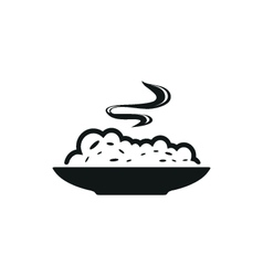 Cereal bowl simple black icon on white background vector