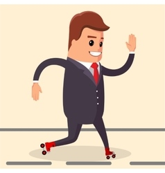 Happy businessman manager character on vector