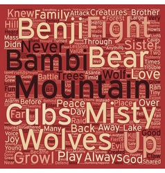 Misty Mountain text background wordcloud concept vector image
