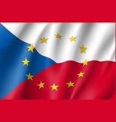 Czech republic national flag with a circle of eu vector
