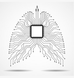 Abstract human lung technology background vector