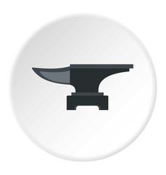 Heavy black metal anvil icon circle vector