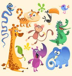 Cartoon of tropic wild animals set vector