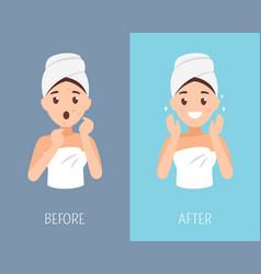 Woman skin care before and after face treatment vector