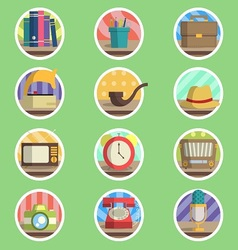 Vintage item flat icon vector