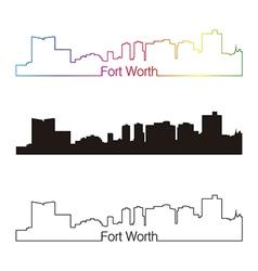 Fort worth skyline linear style with rainbow vector