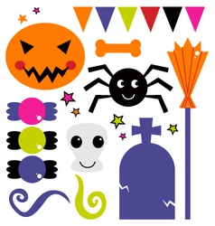 Cute various design elements for Halloween vector image