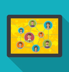 tablet computer with social network and friendship vector image