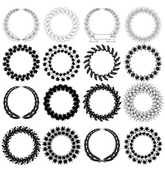 Set black laurel wreath on the white background vector image