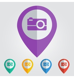 Flat pin with photo icon vector
