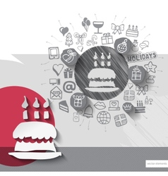 Hand drawn birthday pie icons with icons vector