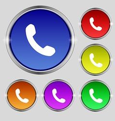 Phone support call center icon sign round symbol vector