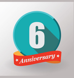 6 anniversary label with ribbon vector
