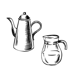 Porcelain and glass coffee pots vector