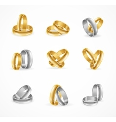 Rings set made of silver and gold vector