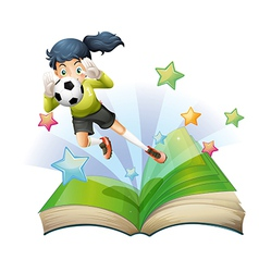 A book with an image of a female football player vector image vector image