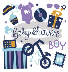 Baby shower set for boy vector image