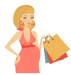 Beautiful mom to be holding shopping bags vector image vector image