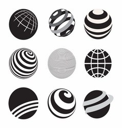 Black and White Icons Globe vector image