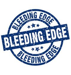 Bleeding edge blue round grunge stamp vector