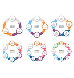 Business infographics circular arrows with 3-8 vector