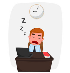 businessman sleeping on work table cartoon vector image