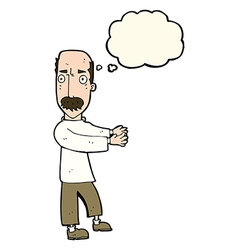 Cartoon balding man explaining with thought bubble vector