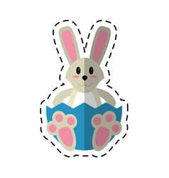 cartoon easter bunny with broken egg vector image