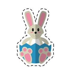 Cartoon easter bunny with broken egg vector
