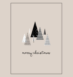 Christmas winter landscape greeting card with vector