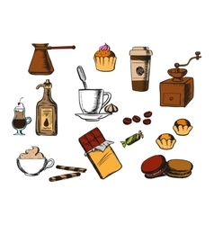 Coffee drinks and dessert icons vector