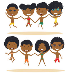 cute african-american summer people jumping on vector image vector image