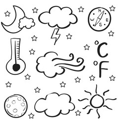 Doodle of weather set cloud thunder wind vector