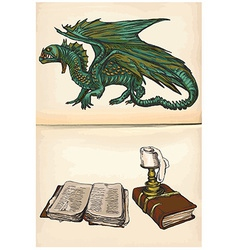 Dragon and books - hand drawings vector