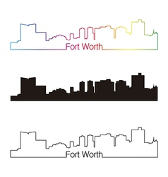 Fort Worth skyline linear style with rainbow vector image vector image