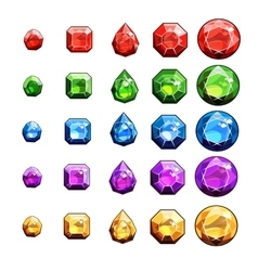 Gems and diamonds icons set vector