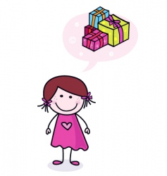 girl dreaming about presents vector image vector image