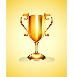 Golden trophy on yellow background vector image
