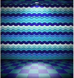 Grunge room with waves vector