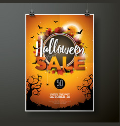Hallowen sale poster template with moon and bats vector