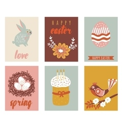 Happy easter greeting cards template with easter vector